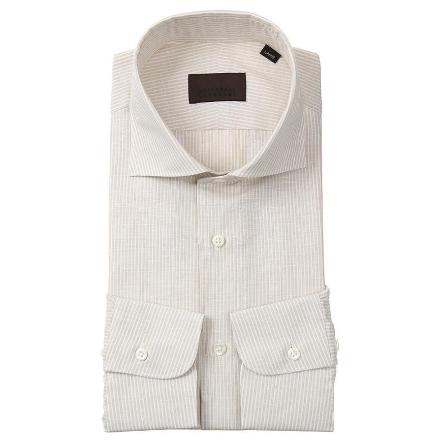 ドレスシャツ/長袖/メンズ/JAPAN FABRIC/リネンブレンド/ホリゾンタルカラードレスシャツ ストライプ ベージュ×ホワイト