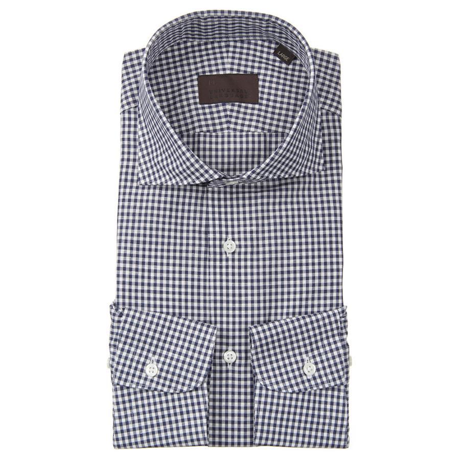 ドレスシャツ/長袖/メンズ/JAPAN FABRIC/リネンブレンド/ホリゾンタルカラードレスシャツ ギンガムチェック ネイビー×ホワイト