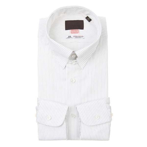 ドレスシャツ/長袖/メンズ/HAND MADE/タブカラードレスシャツ ストライプ /THOMAS MASON/ ホワイト×ブラック