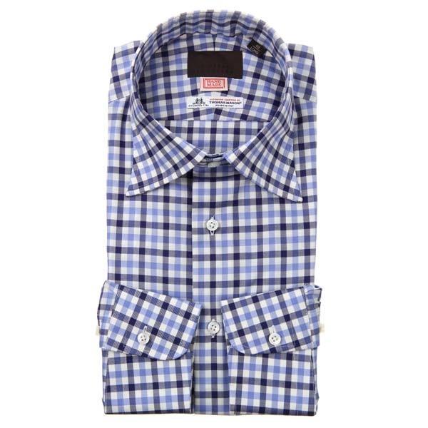 ドレスシャツ/長袖/メンズ/HAND MADE/ワイドカラードレスシャツ/Fabric by THOMAS MASON/ ホワイト×ネイビー×ブルー