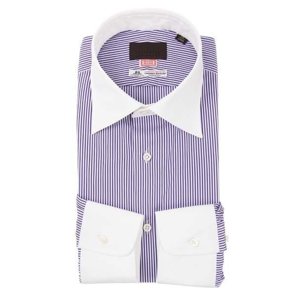 ドレスシャツ/長袖/メンズ/HAND MADE/クレリック&ワイドカラードレスシャツ/THOMAS MASON/ パープル×ホワイト