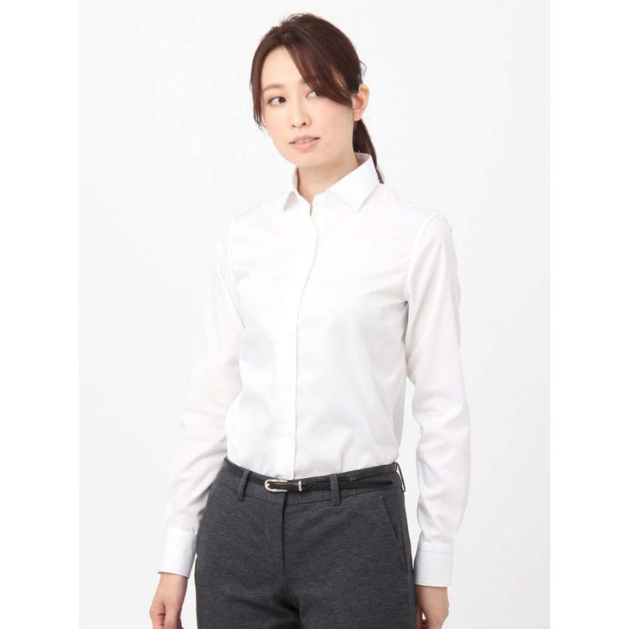 シャツ/ブラウス/レディース/High Quality Blouse ワイドカラー 織柄 ホワイト
