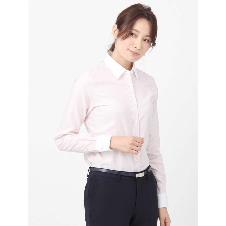 シャツ/ブラウス/レディース/destyle/High Quality Blouse パールボタンクレリックカラー ホワイト×ピンク
