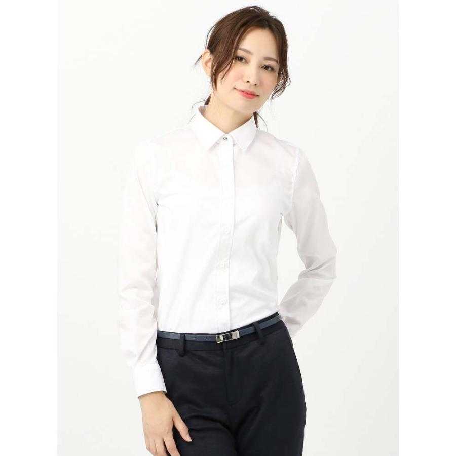 シャツ/ブラウス/レディース/High Quality Blouse ステッチ&レギュラーカラー ドビー織柄 ホワイト