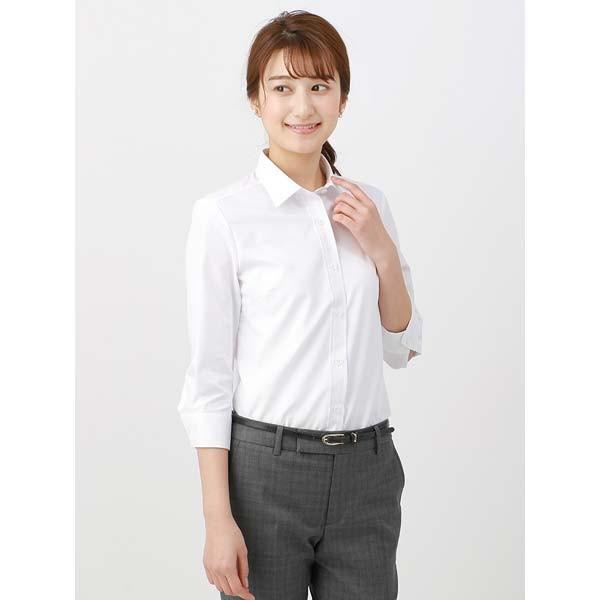 シャツ/ブラウス/レディース/7分袖/Easy Care Blouse レギュラーカラー  シャドーストライプ ホワイト
