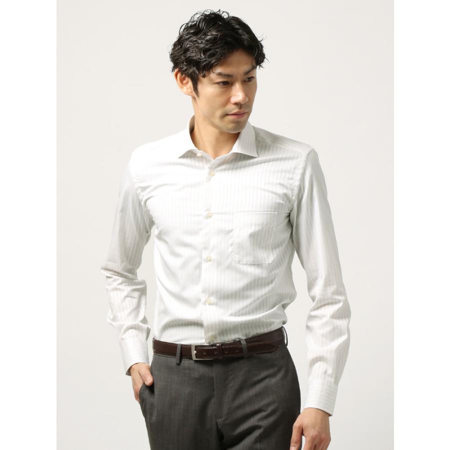 ドレスシャツ/長袖/メンズ/ANTONIO LAVERDA/ワイドカラードレスシャツシャドーストライプ〔Easy Care〕 ホワイト