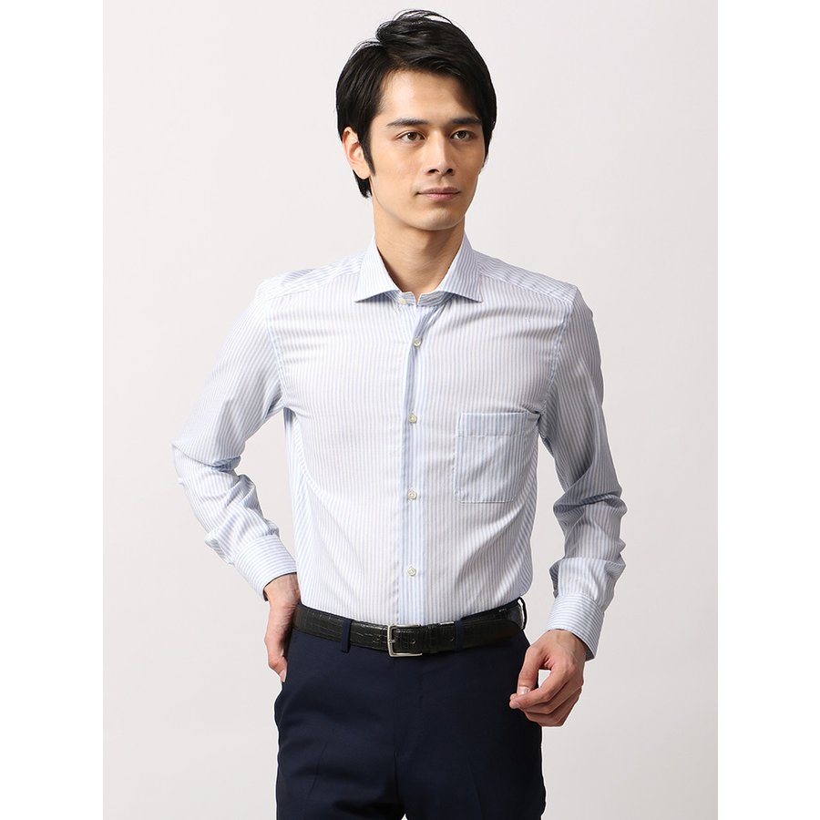 ドレスシャツ/長袖/メンズ/ANTONIO LAVERDA/ワイドカラードレスシャツ ストライプ×織柄 〔Easy Care〕 ブルー×ホワイト