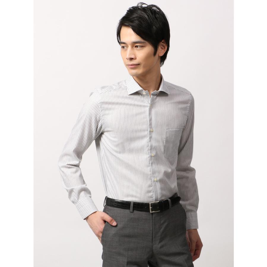 ドレスシャツ/長袖/メンズ/ANTONIO LAVERDA/ワイドカラードレスシャツ ストライプ×織柄 〔Easy Care〕 ライトグレー×ホワイト