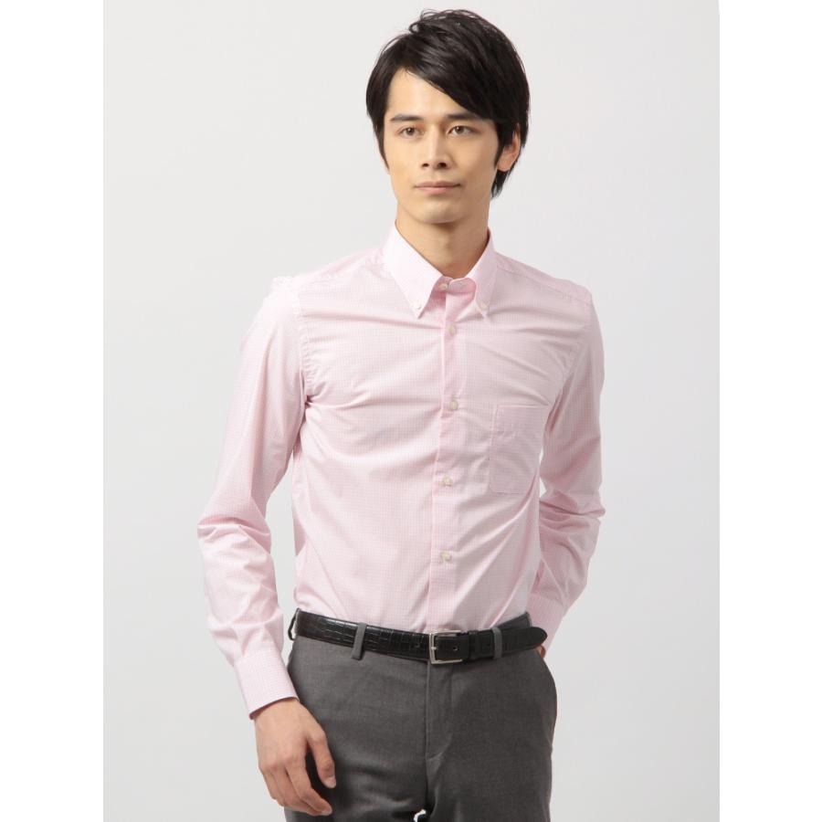 ドレスシャツ/長袖/メンズ/ANTONIO LAVERDA/ボタンダウンカラードレスシャツ チェック 〔Easy Care〕 ピンク×ホワイト