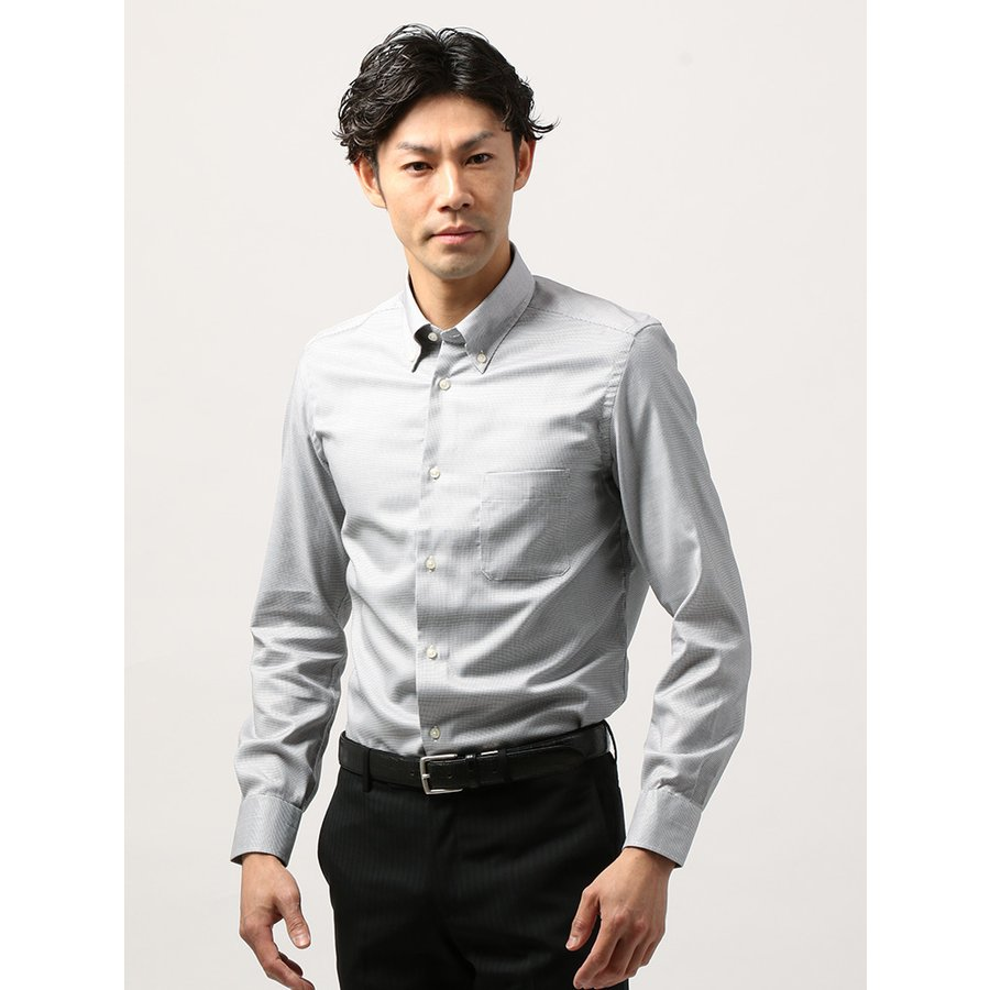 ドレスシャツ/長袖/メンズ/ANTONIO LAVERDA/ボタンダウンカラードレスシャツ 織柄 〔Easy Care〕 ホワイト×ブラック