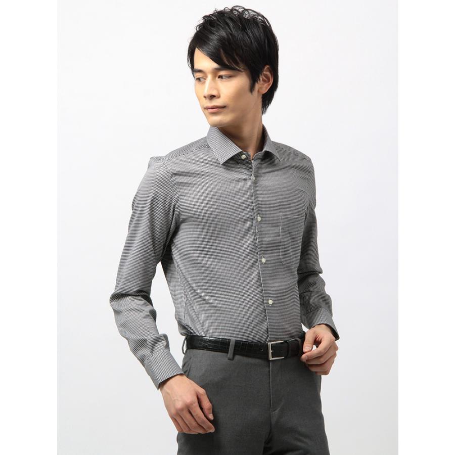 ドレスシャツ/長袖/メンズ/ANTONIO LAVERDA/ワイドカラードレスシャツ チェック 〔Easy Care〕 ブラック×ホワイト