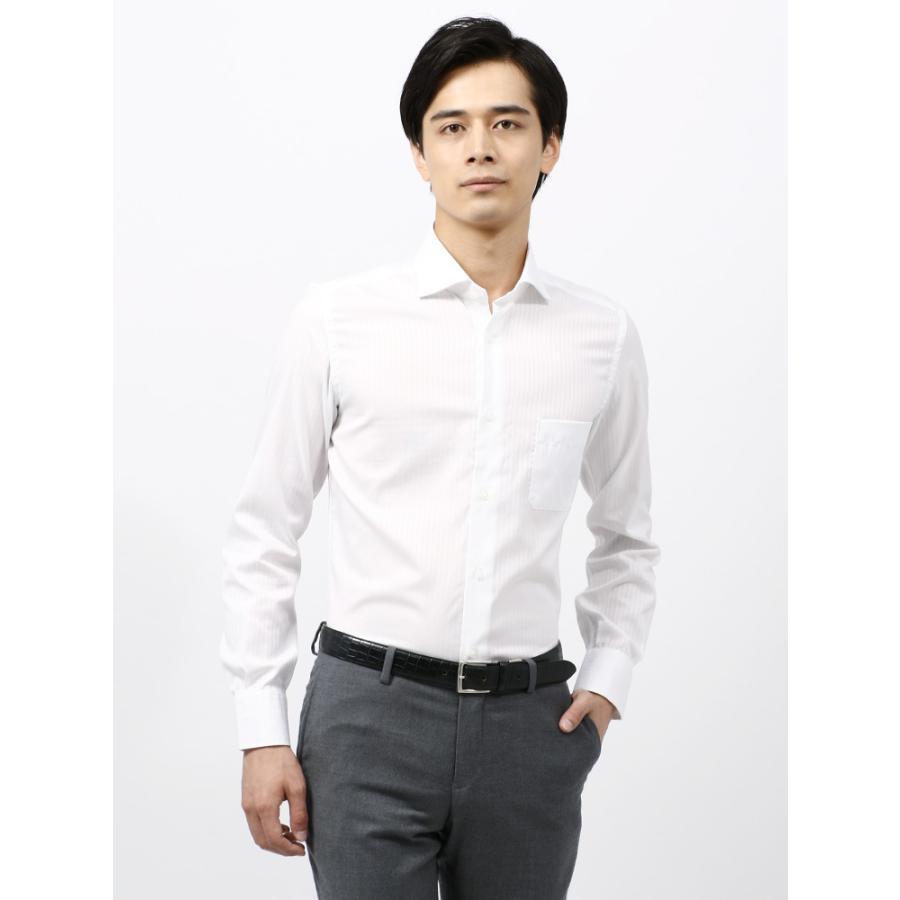 ドレスシャツ/長袖/メンズ/ANTONIO LAVERDA/ホリゾンタルカラードレスシャツ 〔Easy Care〕 ホワイト