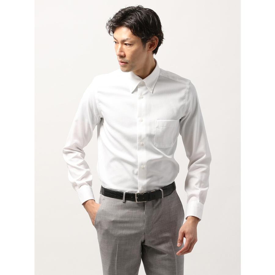 ドレスシャツ/長袖/メンズ/ANTONIO LAVERDA/ボタンダウンカラードレスシャツ 織柄 〔Easy Care〕 ホワイト