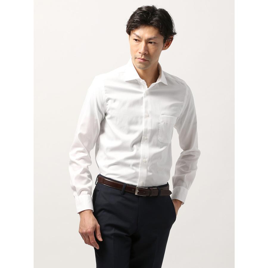ドレスシャツ/長袖/メンズ/ANTONIO LAVERDA/ホリゾンタルカラードレスシャツ 織柄 〔Easy Care〕 ホワイト