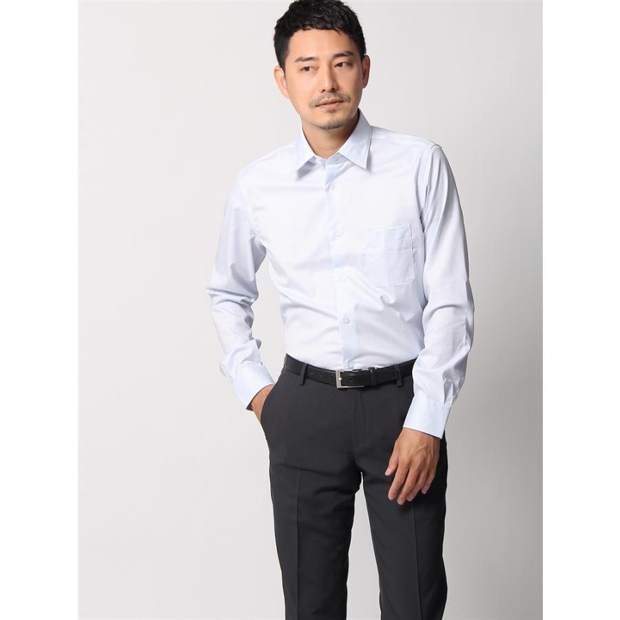 ドレスシャツ/長袖/メンズ/ANTONIO LAVERDA/レギュラーカラードレスシャツ 織柄 〔Easy Care〕 サックスブルー×ホワイト