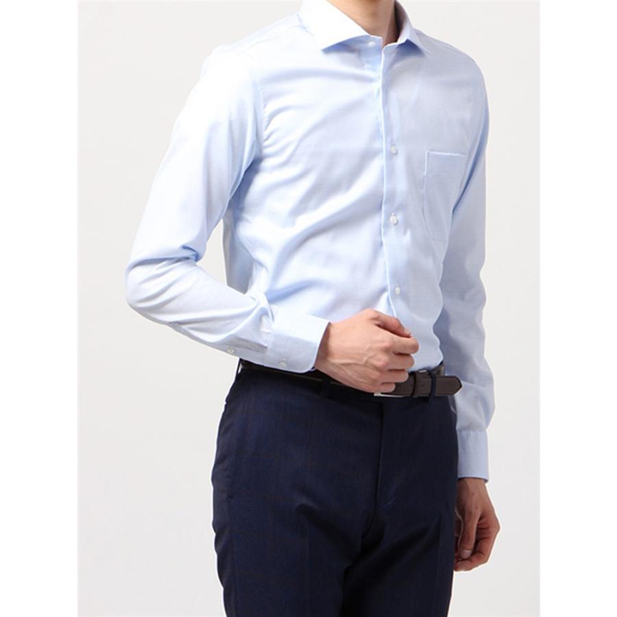 ドレスシャツ/長袖/メンズ/ANTONIO LAVERDA/ワイドカラードレスシャツ 織柄 〔Easy Care〕 サックスブルー×ホワイト