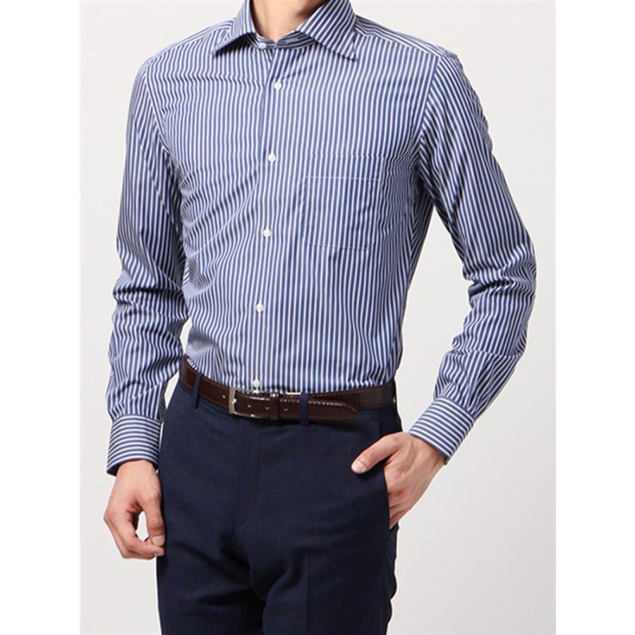 ドレスシャツ/長袖/メンズ/ANTONIO LAVERDA/ワイドカラードレスシャツ ストライプ 〔Easy Care〕 ネイビー×ホワイト