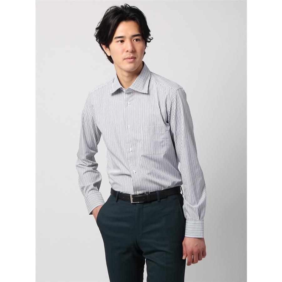 ドレスシャツ/長袖/メンズ/ANTONIO LAVERDA/ワイドカラードレスシャツ ストライプ 〔Easy Care〕 ライトグレー×ネイビー×ホワイト