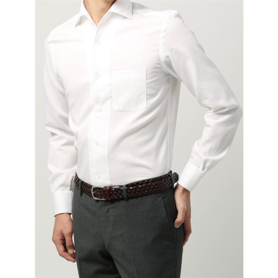 ドレスシャツ/長袖/メンズ/ANTONIO LAVERDA/ワンピースカラードレスシャツ 織柄 〔Easy Care〕 ホワイト