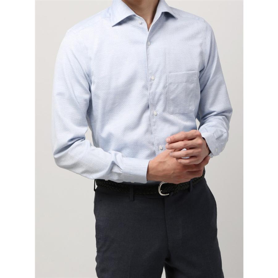 ドレスシャツ/長袖/メンズ/ANTONIO LAVERDA/ワンピースカラードレスシャツ 織柄 〔Easy Care〕 ブルー×ホワイト