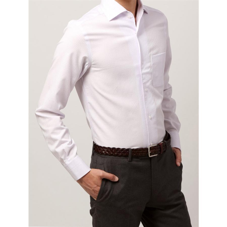 ドレスシャツ/長袖/メンズ/ANTONIO LAVERDA/ワンピースカラードレスシャツ 織柄 〔Easy Care〕 パープル×ホワイト