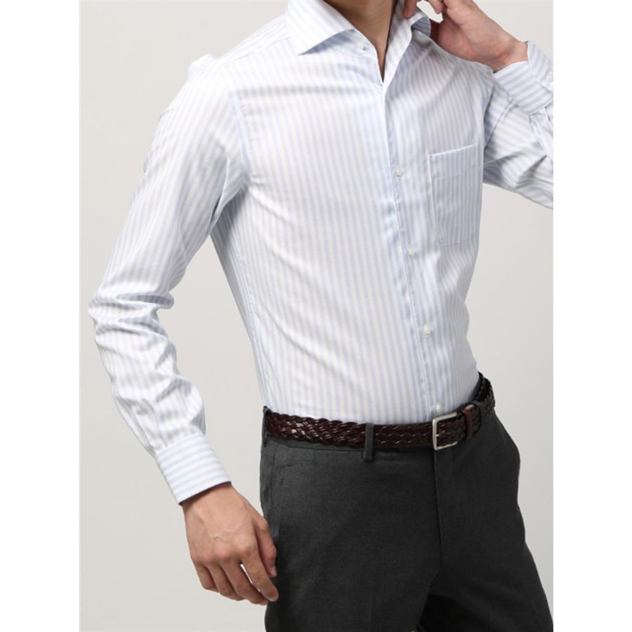 ドレスシャツ/長袖/メンズ/ANTONIO LAVERDA/ワンピースカラードレスシャツ ストライプ 〔Easy Care〕 サックスブルー×ホワイト