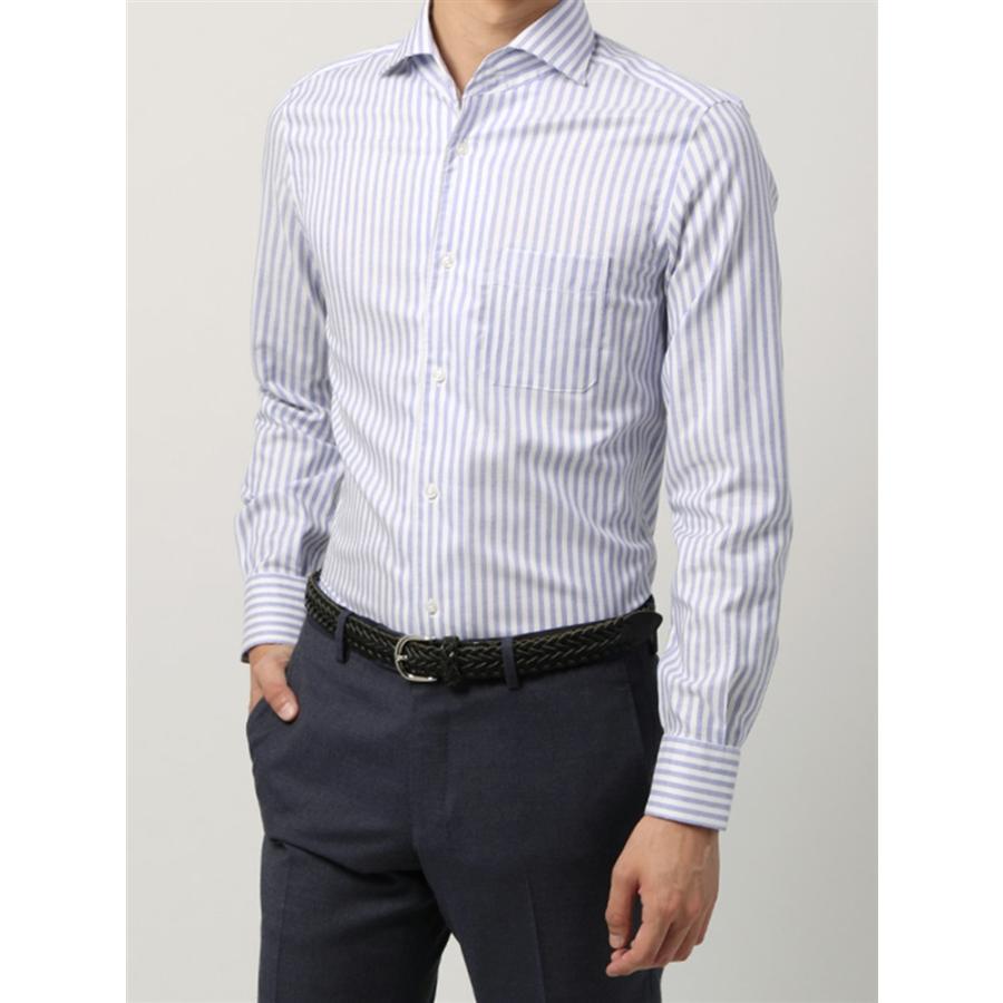 ドレスシャツ/長袖/メンズ/ANTONIO LAVERDA/ワンピースカラードレスシャツ ストライプ 〔Easy Care〕 ネイビー×ホワイト