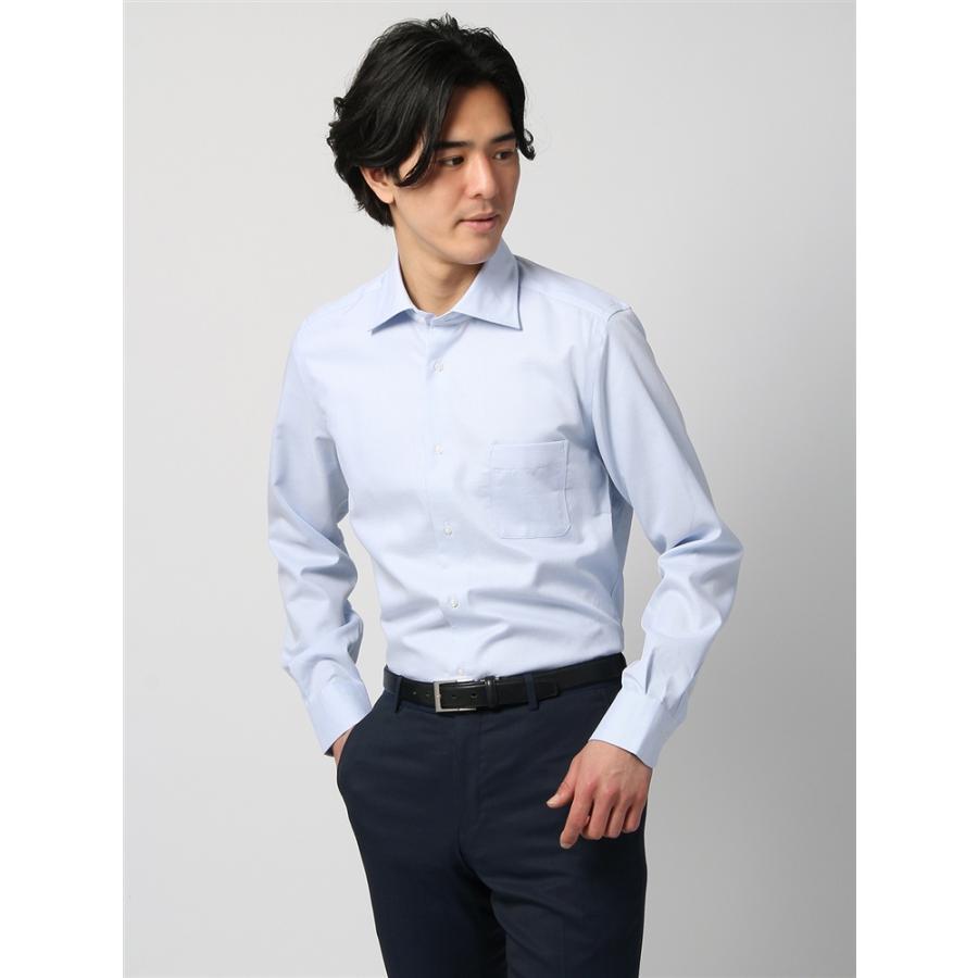 ドレスシャツ/長袖/メンズ/ANTONIO LAVERDA/ホリゾンタルカラードレスシャツ 織柄 〔Easy Care〕 サックスブルー×ホワイト
