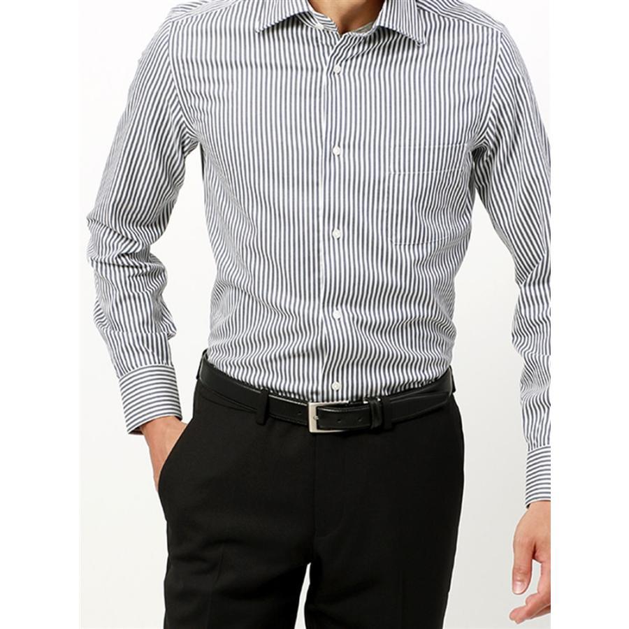 ドレスシャツ/長袖/メンズ/ANTONIO LAVERDA/ホリゾンタルカラードレスシャツストライプ 〔Easy Care〕 ネイビー×ホワイト