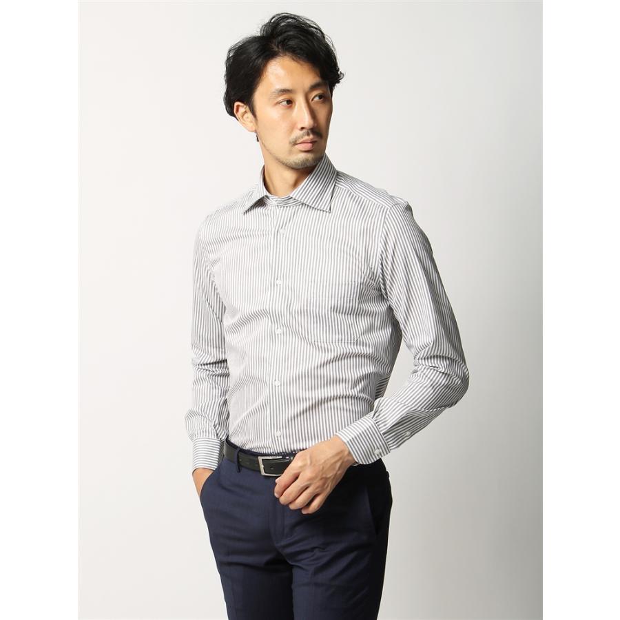 ドレスシャツ/長袖/メンズ/ANTONIO LAVERDA/ホリゾンタルカラードレスシャツストライプ 〔Easy Care〕 ライトグレー×ホワイト