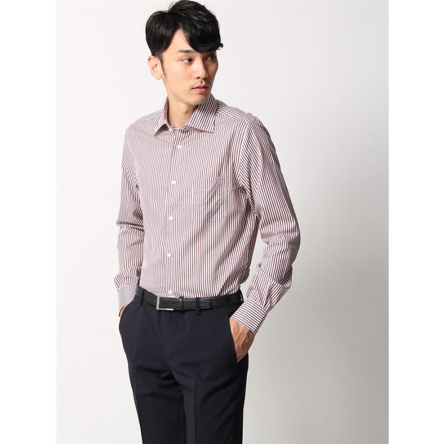 ドレスシャツ/長袖/メンズ/ANTONIO LAVERDA/ホリゾンタルカラードレスシャツストライプ 〔Easy Care〕 ブラウン×ホワイト
