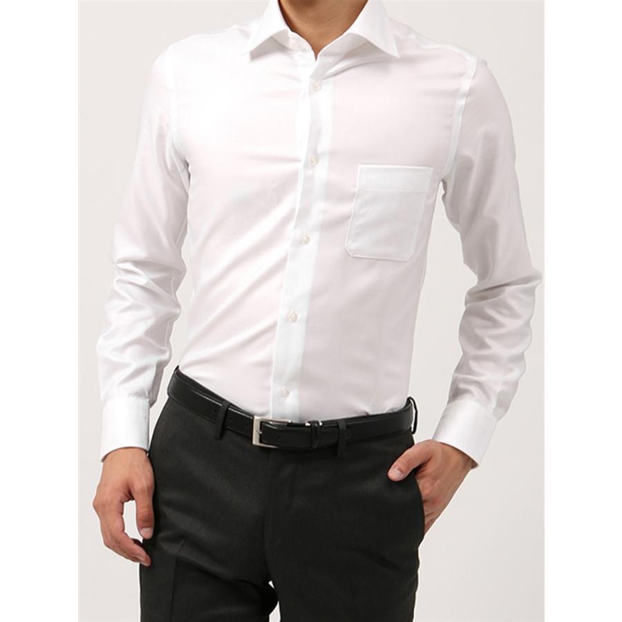 ドレスシャツ/長袖/メンズ/ANTONIO LAVERDA/ワイドカラードレスシャツ 織柄 〔Easy Care〕 ホワイト