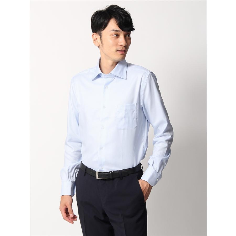 ドレスシャツ/長袖/メンズ/ANTONIO LAVERDA/ワイドカラードレスシャツ 織柄 〔Easy Care〕 サックスブルー