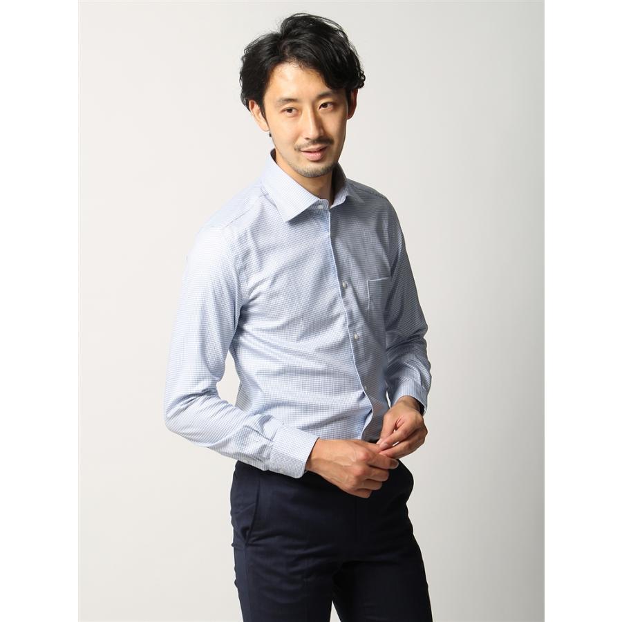 ドレスシャツ/長袖/メンズ/ANTONIO LAVERDA/ワイドカラードレスシャツ マイクロチェック〔Easy Care〕 サックスブルー×ブルー×ホワイト