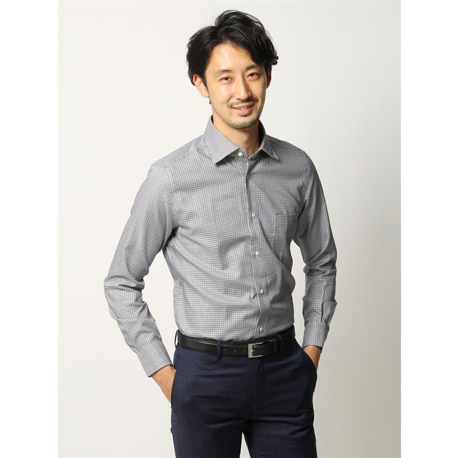 ドレスシャツ/長袖/メンズ/ANTONIO LAVERDA/ワイドカラードレスシャツ マイクロチェック〔Easy Care〕 ライトグレー×ブラック×ホワイト