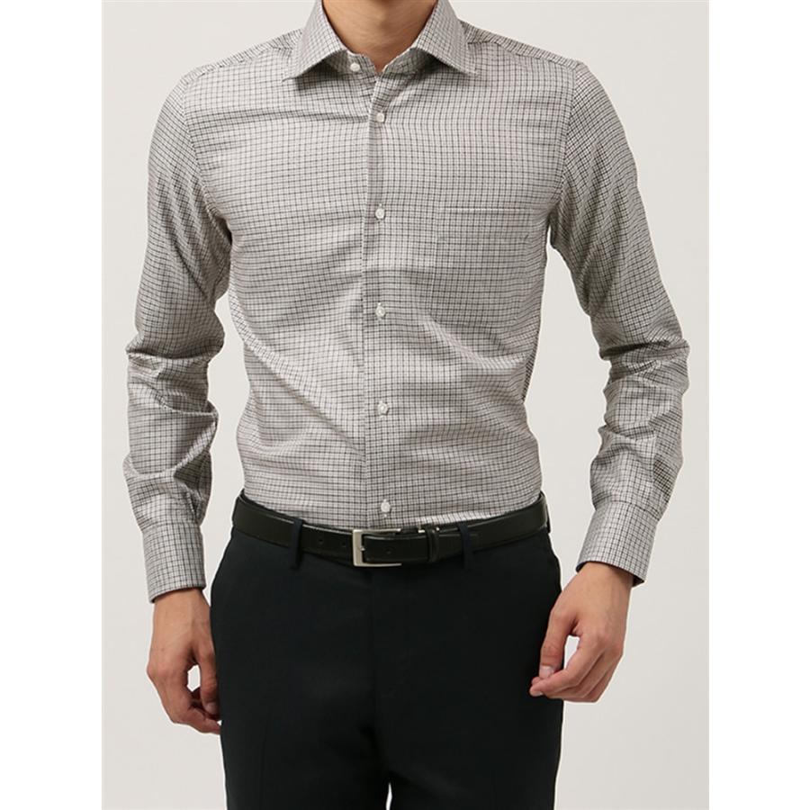 ドレスシャツ/長袖/メンズ/ANTONIO LAVERDA/ワイドカラードレスシャツ マイクロチェック〔Easy Care〕 ライトブラウン×ブラウン×ホワイト