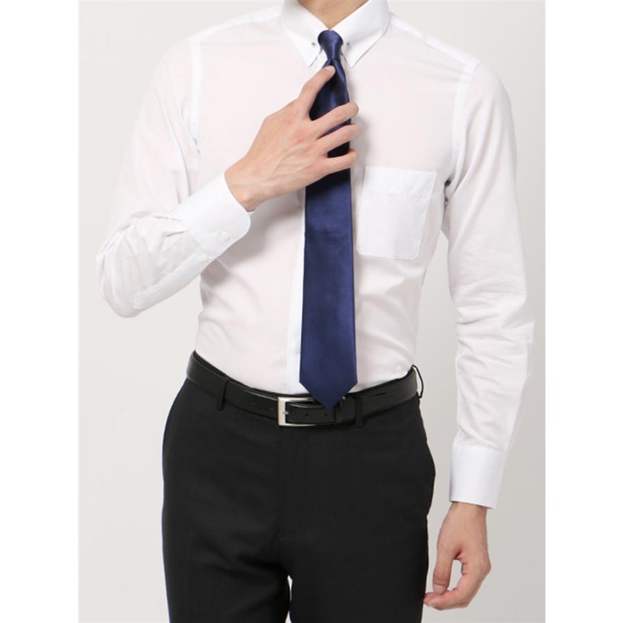 ドレスシャツ/長袖/メンズ/blazer's bank.com/ピンホールカラードレスシャツ 無地 ホワイト