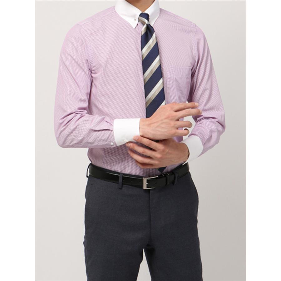 ドレスシャツ/長袖/メンズ/blazer's bank.com/クレリック&ピンホールカラードレスシャツ ストライプ パープル×ホワイト