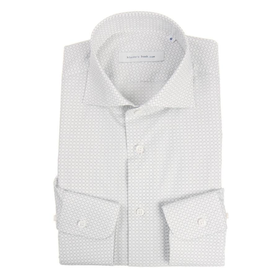 ドレスシャツ/長袖/メンズ/blazer's bank.com/ホリゾンタルカラードレスシャツ プリント ホワイト×チャコールグレー