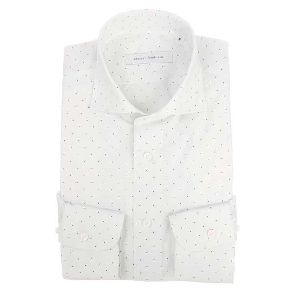 ドレスシャツ/長袖/メンズ/blazer's bank.com/ホリゾンタルカラードレスシャツ プリント ホワイト×ネイビー×ミディアムグレー