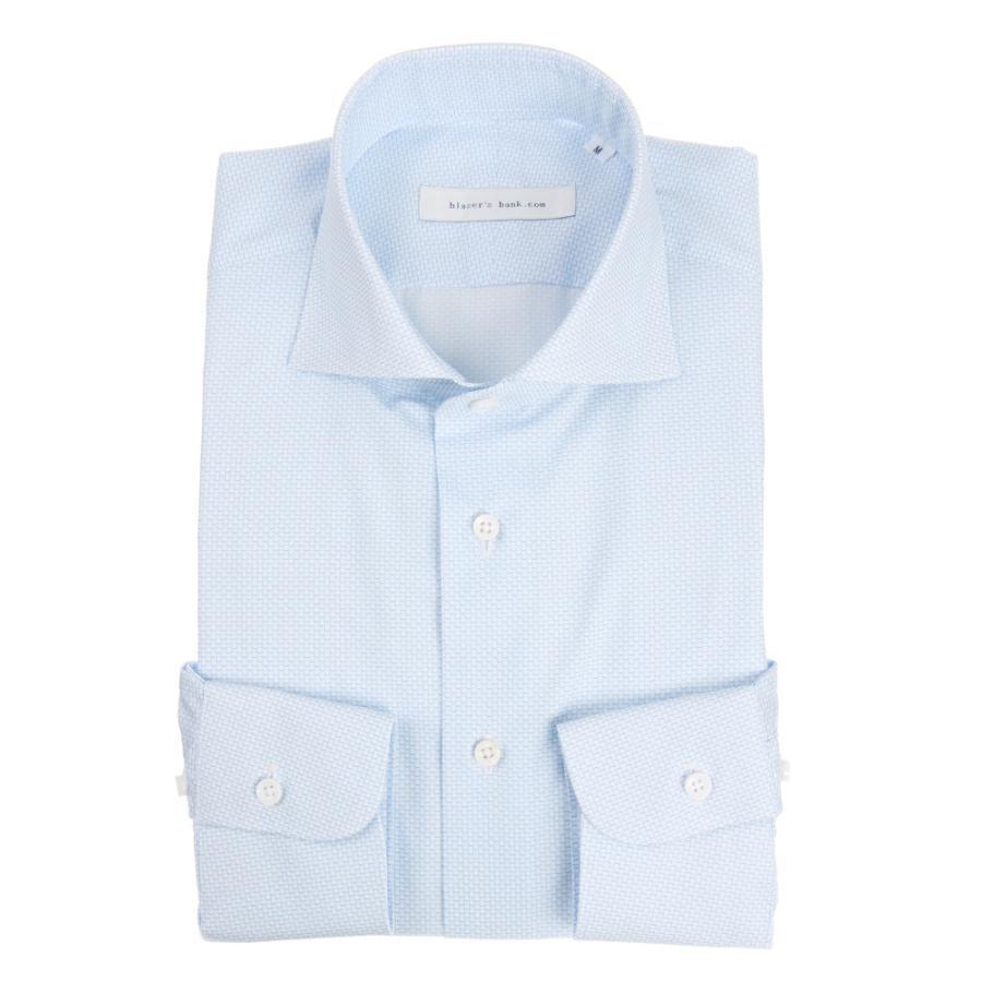 ドレスシャツ/長袖/メンズ/blazer's bank.com/ホリゾンタルカラードレスシャツ プリント サックスブルー×ホワイト