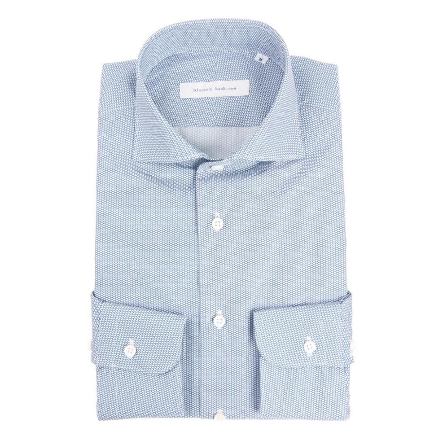 ドレスシャツ/長袖/メンズ/blazer's bank.com/ホリゾンタルカラードレスシャツ プリント ネイビー×ホワイト