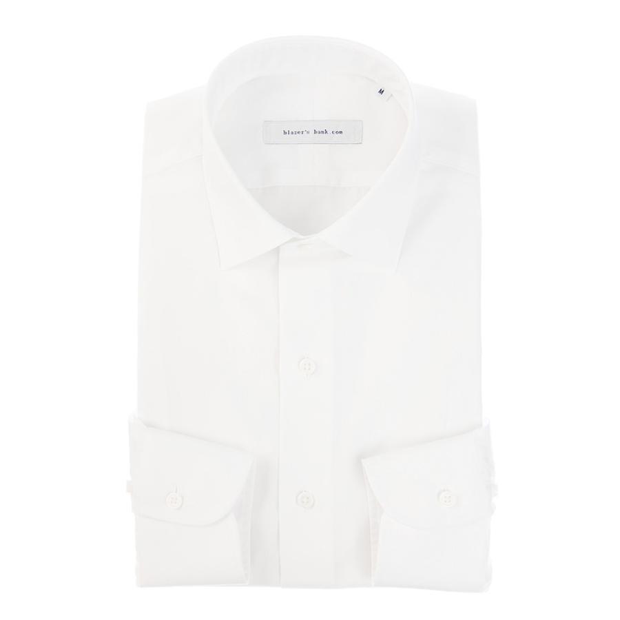 ドレスシャツ/長袖/メンズ/blazer's bank.com/ワイドカラードレスシャツ 無地 ホワイト