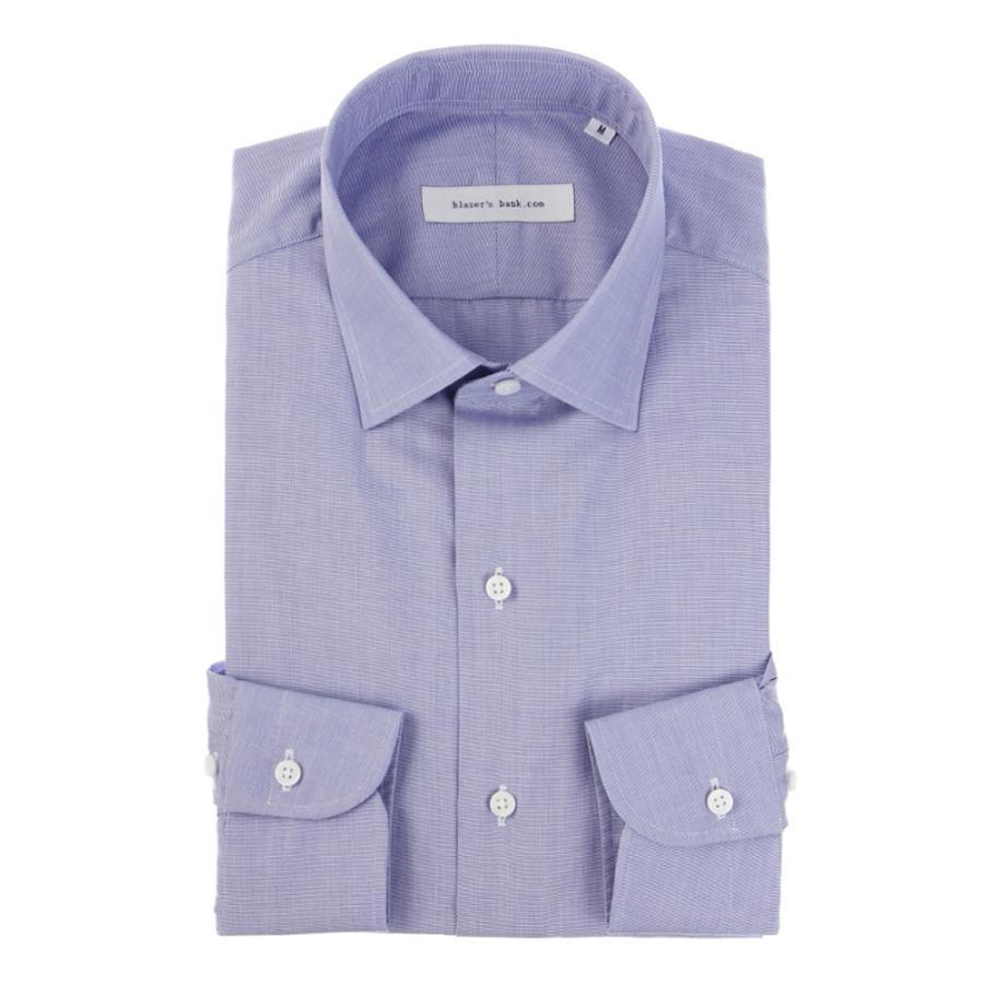 ドレスシャツ/長袖/メンズ/blazer's bank.com/ワイドカラードレスシャツ 織柄 ブルー×ホワイト