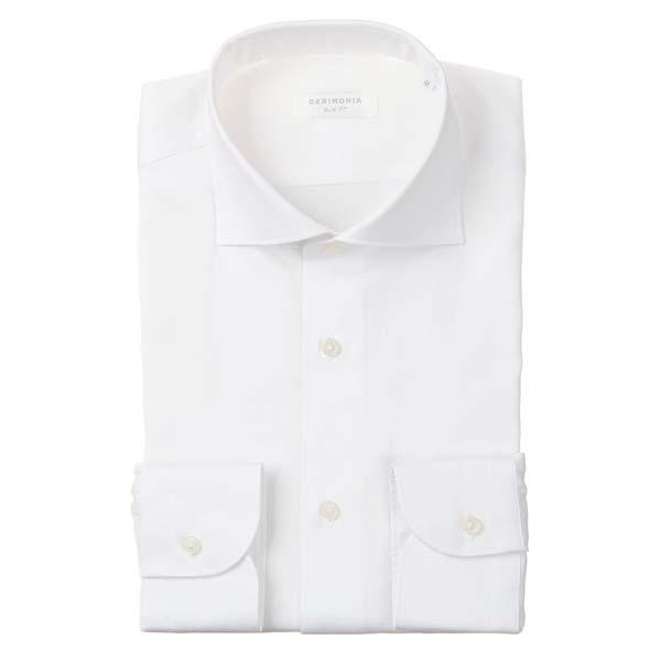 ドレスシャツ/長袖/メンズ/CERIMONIA/ホリゾンタルカラードレスシャツ 織柄 〔SLIM FIT〕 ホワイト