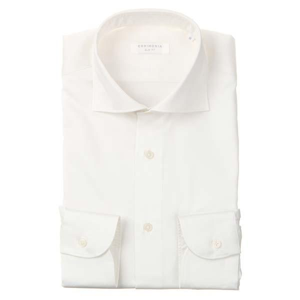 ドレスシャツ/長袖/メンズ/CERIMONIA/ホリゾンタルカラードレスシャツ 無地 〔SLIM FIT〕 ホワイト