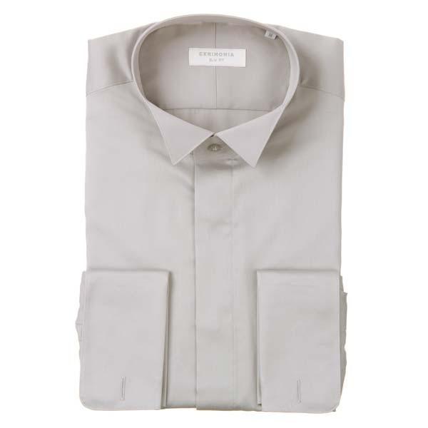 ドレスシャツ/長袖/メンズ/CERIMONIA/ダブルカフス&ウイングカラードレスシャツ 無地 〔SLIM FIT〕 ライトグレー