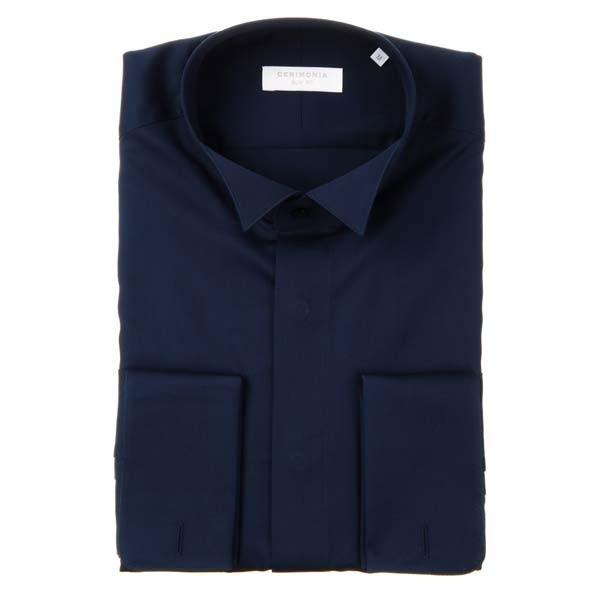 ドレスシャツ/長袖/メンズ/CERIMONIA/ダブルカフス&ウイングカラードレスシャツ 無地 〔SLIM FIT〕 ネイビー