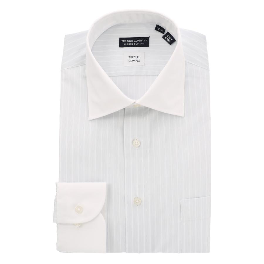 ドレスシャツ/長袖/メンズ/クレリック&ワイドカラードレスシャツ ストライプ 〔EC・CLASSIC SLIM-FIT〕 ライトグレー×ホワイト