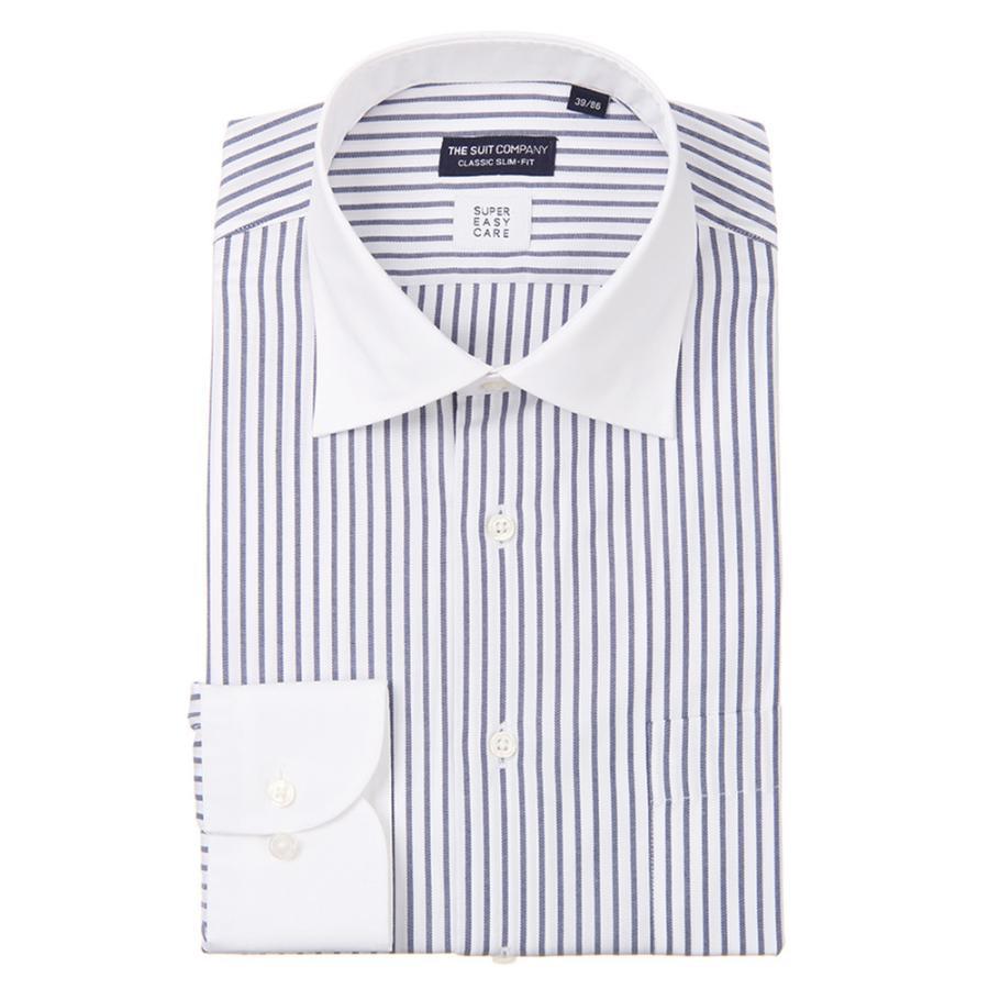 ドレスシャツ/長袖/メンズ/クレリック&ワイドカラードレスシャツ ストライプ 〔EC・CLASSIC SLIM-FIT〕 ホワイト×ネイビー